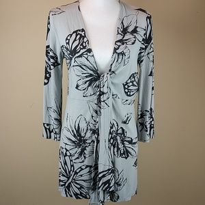CAbi Floral/Butterfly Tie Front Long Cardigan Sz M